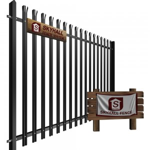 steel palisade fencing 3d illustration